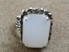 Chunky 60s Moonstone Opaline Art Glass Ring Vintage WEST GERMANY Adjustable Band