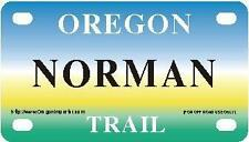 NORMAN Oregon Trail - Mini License Plate - Name Tag - Bicycle Plate!