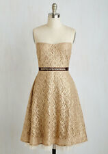 Modcloth Bedazzle the Crowd Dress Gold Taupe Sz L NWT  $100 Ryu lace Shimmer