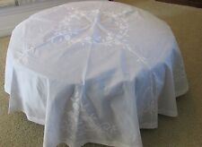 """Vintage White 66"""" Round Sheer Organza Embroidery Tablecloth Floral Applique"""
