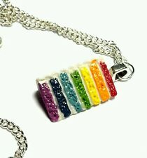 Rainbow cake slice pendant necklace silver plated chain 18 inch kawaii