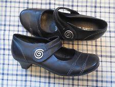 REMONTE DORNDORF Black Kitten Low Heel Size 37 Leather Velcro Mary Jane EUC