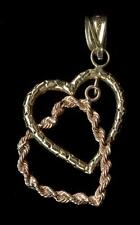 New 10K 28mm Solid Yellow & Rose Gold Heart Accent Pendant Lot If