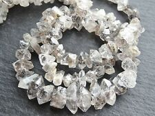 "HERKIMER STYLE DIAMOND QUARTZ BEADS, graduated 5x8mm - 7x13mm, 18"", 100 beads"
