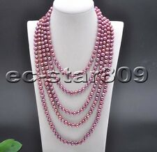 """P5855 Long 100"""" 8mm Round Purple Freshwater Culture PEARL Necklace"""