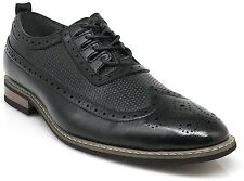 Parrazo Men Dress Shoes Wingtip Oxford Leather Lined Lace Up Black Brown Wood