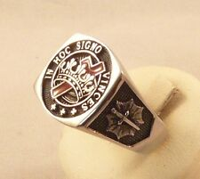 ANELLO TEMPLARI MASSONICO CORONA CROCE ARGENTO 925 STERLING SILVER MASONIC RING
