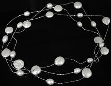 """46""""LONG NATURAL WHITE RICE COIN PEARL METAL CHAIN GEM NECKLACE FASHION JEWELRY"""