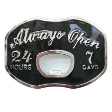Vintage Always Open Beer Bottle Opener Funny Metal Belt Buckle Mens Cowboy Black