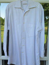 Ermenegildo Zegna Long Sleeve 100% Cotton White Checks Dress Shirt 15 1/2 Medium