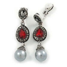 Marcasite Hematite/ Red Crystal Pearl Clip On Earrings In Antique Silver Tone -