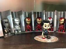 "HOT TOYS & MARVEL 3"" IRON MAN TONY STARK MARK I II III IV V VI VII COSBABY SET"