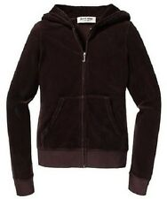 JUICY COUTURE CHESTNUT BROWN ORIGINAL VELOUR ZIP HOODIE L 12 14 £115!