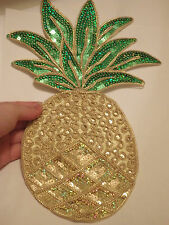 large pineapple patches sequin applique motif iron on sew on embroidered UK