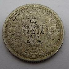 George V 1918 India 1/4 Quarter Rupee Silver Coin