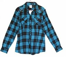 Harley-Davidson Shirt Turquoise/Blue Black Plaid Flannel Embellished Lg Sleeve L