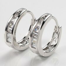 Charm Gift 18k White Gold Filled Lady Earrings 15mm Luxury Hoops Vogue Jewelry