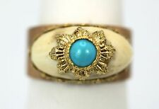 MARIO BUCCELLATI 18K TEXTURED BRUSHED YELLOW GOLD RING WITH TURQUOISE (SET)