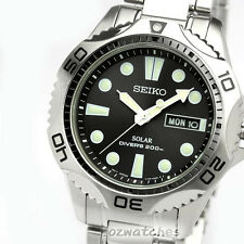 SEIKO PROSPEX SOLAR DIVERS 200M MENS WATCH SNE107 SNE107P1 BLACK SS BAND