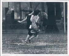 1964 1960s Girls in Dresses Running Through Rain Press Photo
