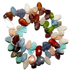 FANCY GLASS BEADS MIX 15-20MM SIZES NUGGET SHAPES LEAFS HEARTS STRAND