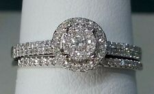 SIZE 9 14k White Gold Double Halo Vintage Round Diamond Wedding Bridal Set Ring