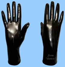 NEW WOMENS size 8 GENUINE BLACK PATENT LAMBSKIN LEATHER SILK LINED GLOVES