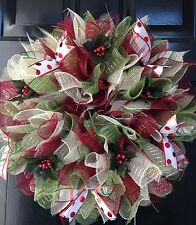 Christmas Wreath Holiday Maroon Creme Green Holly Ribbon Deco Mesh