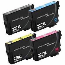 4 PK T220 XL Black & Color High Yield Ink Cartridges For Epson WF-2630 2650 2660