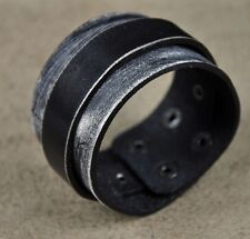 KV07 Classic Double Layer Wide Leather Bracelet Wristband Cuff Vintage Black A
