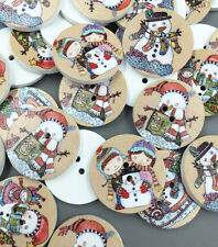 25pcs Christmas snowman Round Wooden Sewing Buttons scrapbooking crafts 25mm