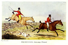 FOX HUNTING GONE AWAY FORWARD, FENCE JUMPING, HORSE WHIP HOUND ANTIQUE PRINT