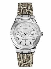 GUESS LADIES WATCH, DATE, PYTHON PRINT BAND,  NEW WITH TAGS, IN CASE, U0470L2