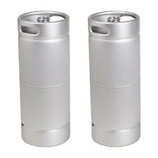 SET OF 2 BRAND NEW 1/6 Barrel Stainless Steel 5 Gallon Beer Kegs Sanke D Sixtel