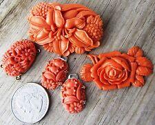 Lot Vintage High Detail Faux Coral Celluloid Carved Floral Motif Pins Pendants
