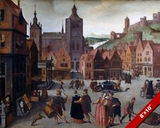 THE MARKETPLACE IN BERGEN OP ZOOM NETHERLANDS PAINTING ART REAL CANVAS PRINT