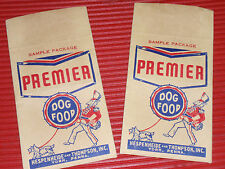 2 VINTAGE PREMIER DOG FOOD PACKS  ADVERTISEMENT