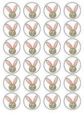 X24 CARTOON RABBIT FACE CUP CAKE TOPPERS DECORATIONS ON EDIBLE RICE PAPER