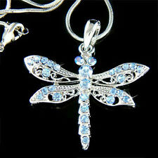 Blue w Swarovski Crystal DRAGONFLY Jewelry Charm Pendant Bridal Wedding Necklace