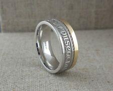 IRISH STERLING SILVER & 10K GAELIC Claddagh Wedding Ring with Rail Edge Size 7.5