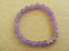 **SALE* LILAC JADE Gemstone Links Bracelet Silver tone Stretch Birthday Present