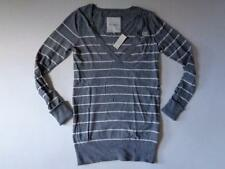 New With Tags Gilly Hicks Sydney Sweater Gray White Striped Long Sleeve Medium