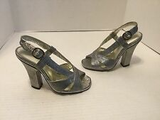 "NEW Marc Jacobs 4 1/2"" Silver Sparkly Fabric Italian SlingBack Sandals E36 5.5"