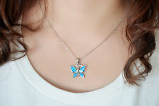 Dormith Fashion Blue Fire Opal Butterfly Pendant 925 Sterling Silver Necklace