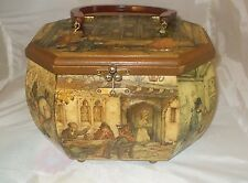 Vintage Anton Pieck Dutch Artist 3 D Decoupage Bakelite Handle Wood Handbag