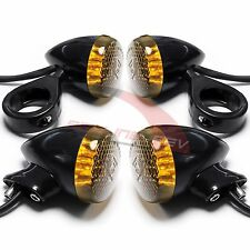 Motorcycle 41mm Front Rear Turn Signal Fork Clamp Lights Black Smoke for Harley