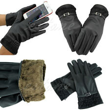 New Lady Women's Winter Warm PU Leather Touch Screen Gloves For Phone Gift