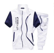Men Stand Collar Shirt Shorts Summer TrackSuit Sport Suit Set Pants  QD-58