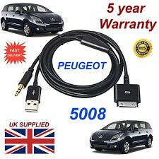 Peugeot 5008 For Apple 3GS 4 4S iPhone iPod USB & Aux 3.5mm USB Cable black