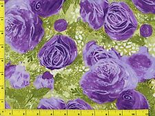Big Purple Roses Flowers Floral Quilting Fabric by Yard  #328